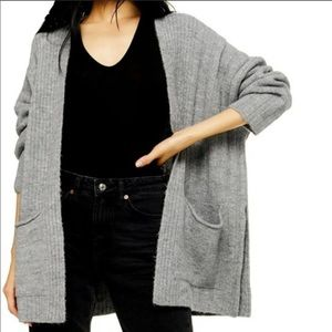 Topshop Oversized Solid Gray Cardigan w/ Pockets
